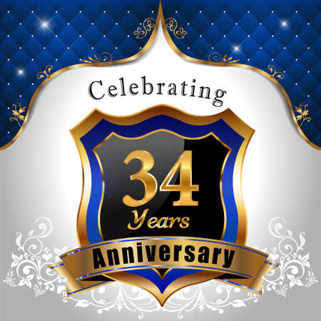 sheild: 3d years anniversary celebration, Golden sheild with blue royal emblem background Illustration