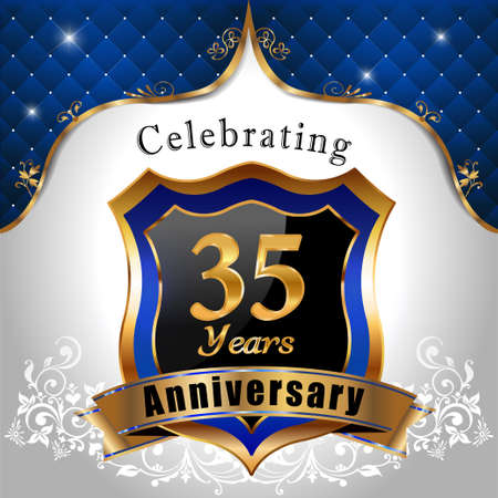 35 years: 35 years anniversary celebration, Golden sheild with blue royal emblem background