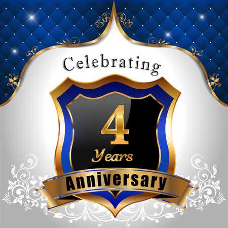 sheild: 4 years anniversary celebration, Golden sheild with blue royal emblem background