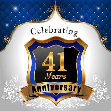 sheild: 41 years anniversary celebration, Golden sheild with blue royal emblem background