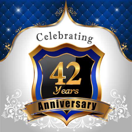 sheild: 42 years anniversary celebration, Golden sheild with blue royal emblem background Illustration