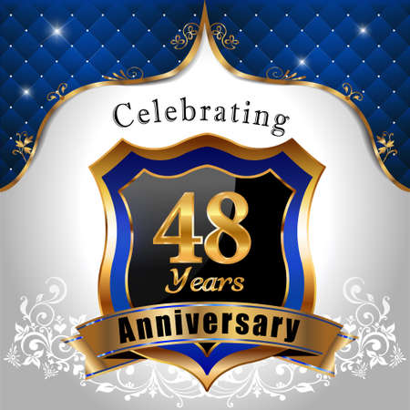 48: 48 years anniversary celebration, Golden sheild with blue royal emblem background
