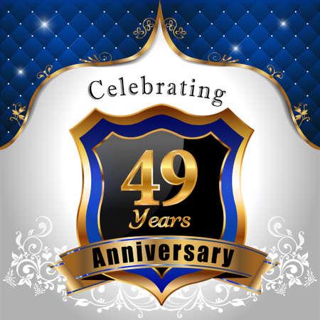 sheild: 49 years anniversary celebration, Golden sheild with blue royal emblem background Illustration