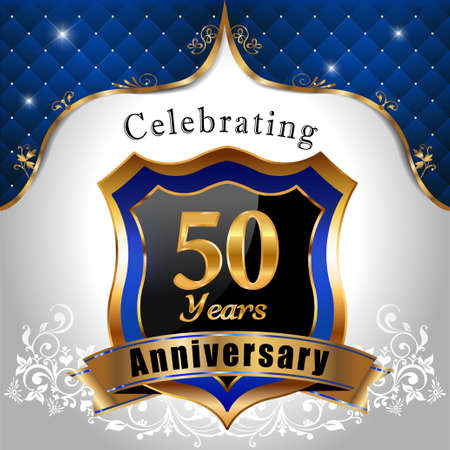 50 years: 50 years anniversary celebration, Golden sheild with blue royal emblem background