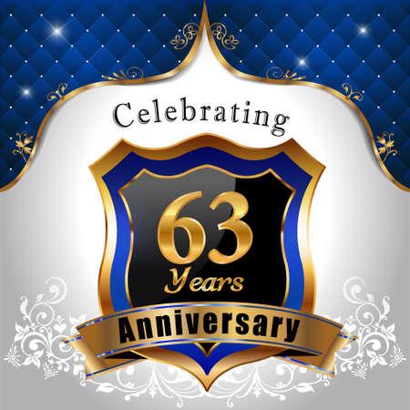 sheild: 63   years anniversary, Golden sheild with blue royal emblem background
