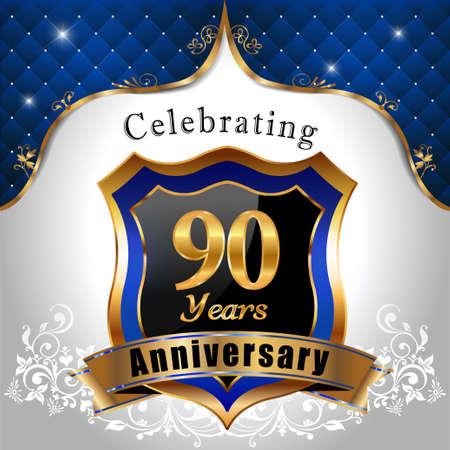 90 years: 90 anni anniversario, sheild dorato con blu emblema Sfondo reale Vettoriali