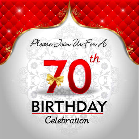 70 years: 70 years anniversary celebration, Golden sheild with blue royal emblem background