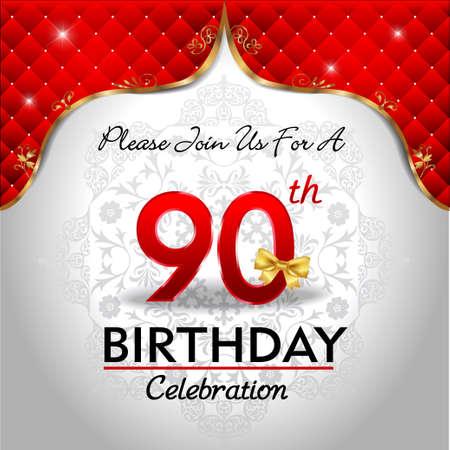90 years: 90 anni anniversario celebrazione, sheild dorato con blu emblema Sfondo reale