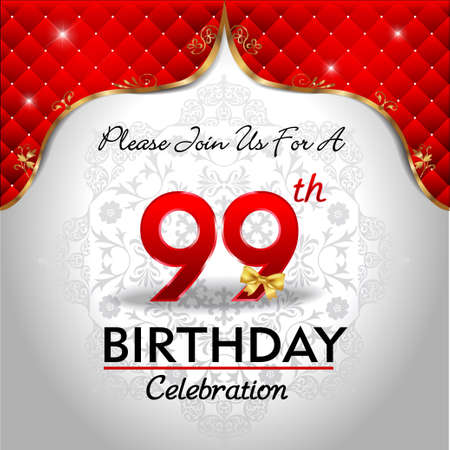 99: 99 years anniversary celebration, Golden sheild with blue royal emblem background Illustration