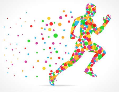 corrida: Hombre corriente con los círculos de color, deportes hombre corriendo - vector eps10