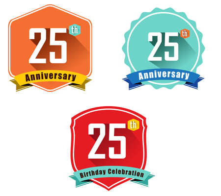 anniversary: 25 year birthday celebration flat color vintage label badge Illustration
