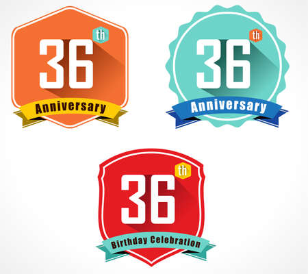 36: 36 year birthday celebration flat color vintage label badge, 36th anniversary