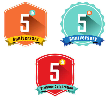5th: 5 year birthday celebration flat color vintage label badge, 5th anniversary Illustration