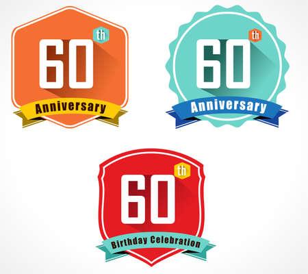 60th: 60 year birthday celebration flat color vintage label badge, 60th anniversary Illustration