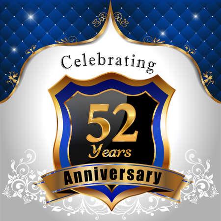 sheild: 52 years anniversary celebration, Golden sheild with blue royal emblem background Illustration