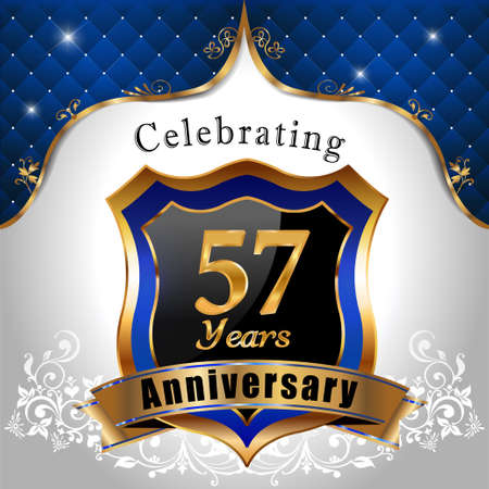 57: 57 years anniversary celebration, Golden sheild with blue royal emblem background