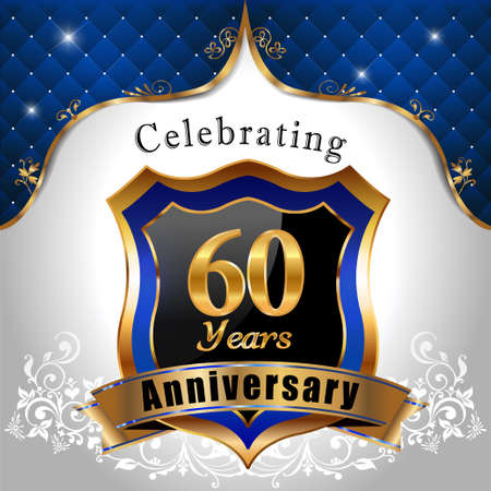 60 years: 60 years anniversary celebration, Golden sheild with blue royal emblem background