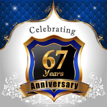 sheild: 67 years anniversary celebration, Golden sheild with blue royal emblem background Illustration