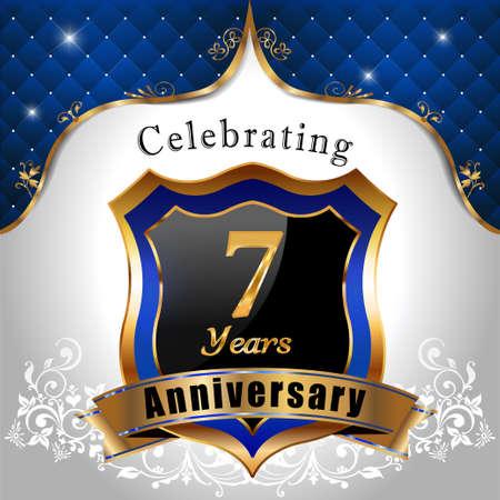 sheild: 7 years anniversary celebration, Golden sheild with blue royal emblem background Illustration
