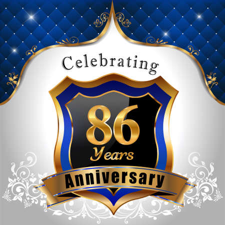sheild: 86  years anniversary celebration, Golden sheild with blue royal emblem background Illustration