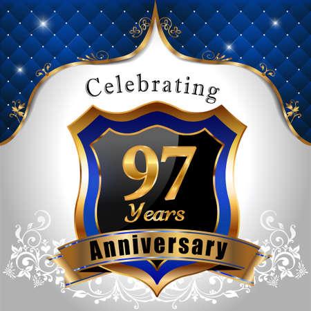 sheild: 97 years anniversary celebration, Golden sheild with blue royal emblem background