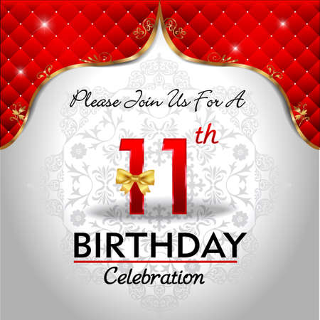 11 number: 11 years birthday celebration, Golden red royal background - vector eps10