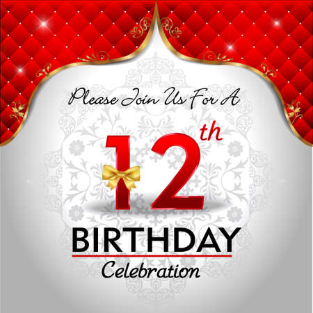 12 years birthday celebration, Golden red royal background - vector eps10 Vector