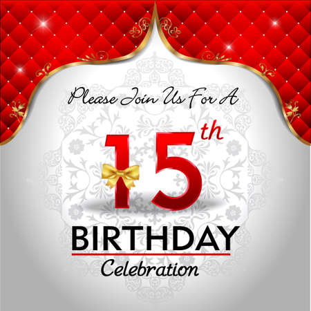 15 years birthday celebration, Golden red royal background - vector eps10 Vector