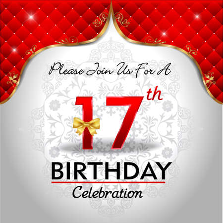 royal background: 17 years birthday celebration, Golden red royal background - vector eps10
