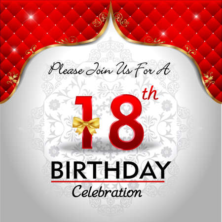 happy birthday 18: 18 years birthday celebration, Golden red royal background - vector eps10 Illustration