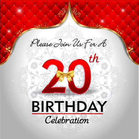 20 years birthday celebration, Golden red royal background - vector eps10