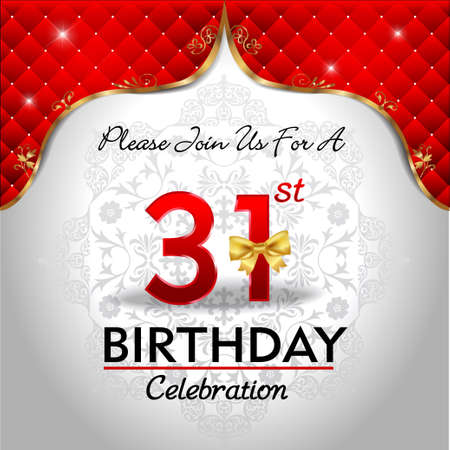 31: 31 years birthday celebration, Golden red royal background - vector eps10