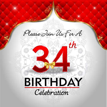 34: 34 years birthday celebration, Golden red royal background - vector eps10