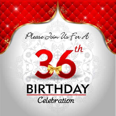 36: 36 years birthday celebration, Golden red royal background - vector eps10 Illustration
