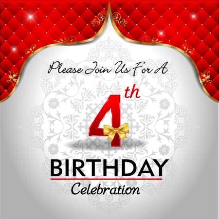4 years birthday celebration, Golden red royal background - vector eps10 일러스트