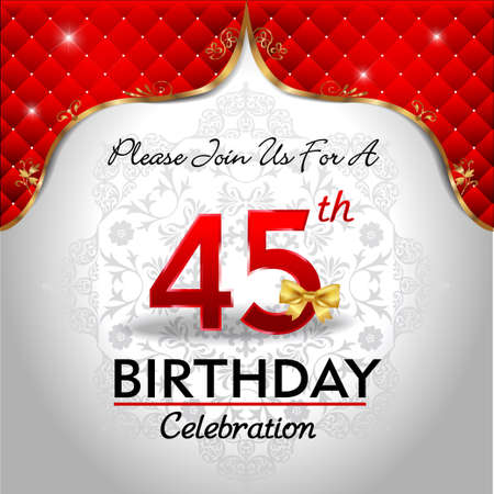 royal background: 45 years birthday celebration, Golden red royal background - vector eps10