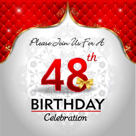 48: 48 years birthday celebration, Golden red royal background - vector eps10