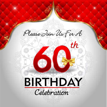 royal background: 60 years birthday celebration, Golden red royal background - vector eps10