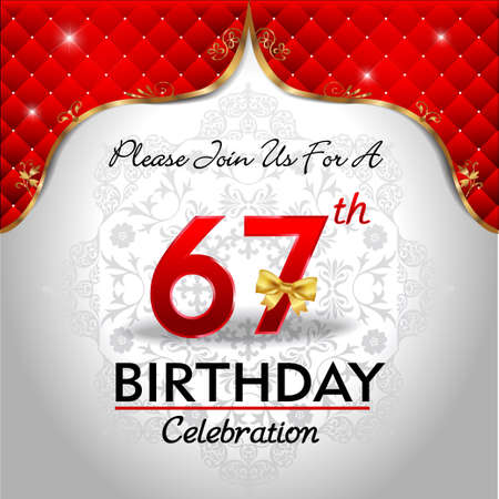 royal background: 67 years birthday celebration, Golden red royal background - vector eps10