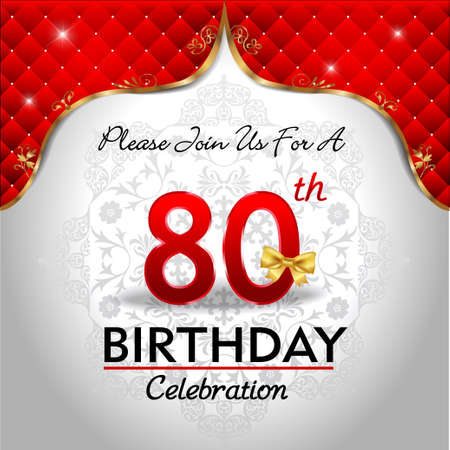 80th: 80 years birthday celebration, Golden red royal background - vector eps10
