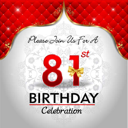 81: 81 years birthday celebration, Golden red royal background - vector eps10