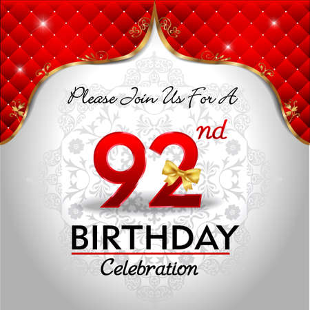 royal background: 92 years birthday celebration, Golden red royal background - vector eps10