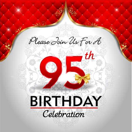 95: 95 anni festa di compleanno, oro rosso Sfondo reale - eps10