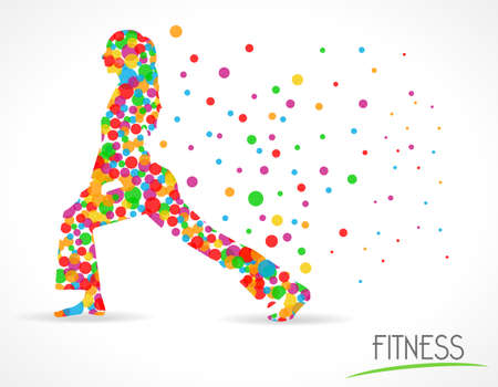 defined: Fitness girl label, Fitness Model Illustration, flat color circle style graphic - vector eps10