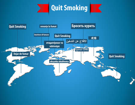 quit smoking: quit smoking concept word in different languages with world map- vector eps10