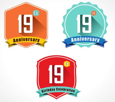 19: 19 year birthday celebration flat color vintage label badge