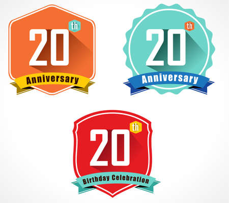 20 year birthday celebration flat color vintage label badge Vector