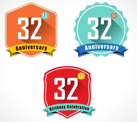 32: 32 year birthday celebration flat color vintage label badge