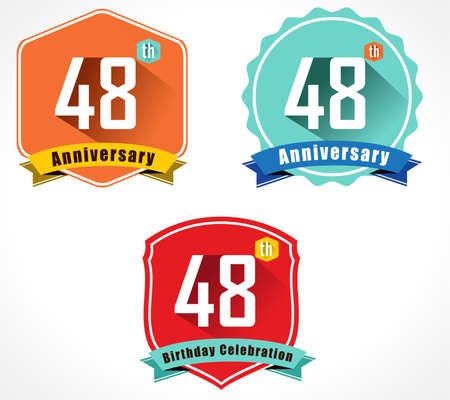 48: 48 year birthday celebration flat color vintage label badge