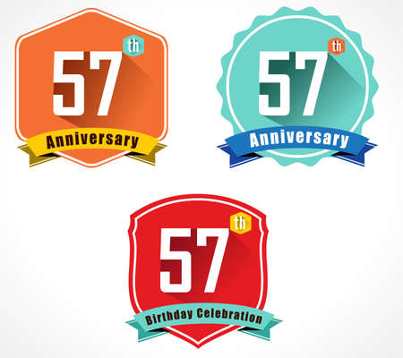 57: 57 year birthday celebration flat color vintage label badge Illustration